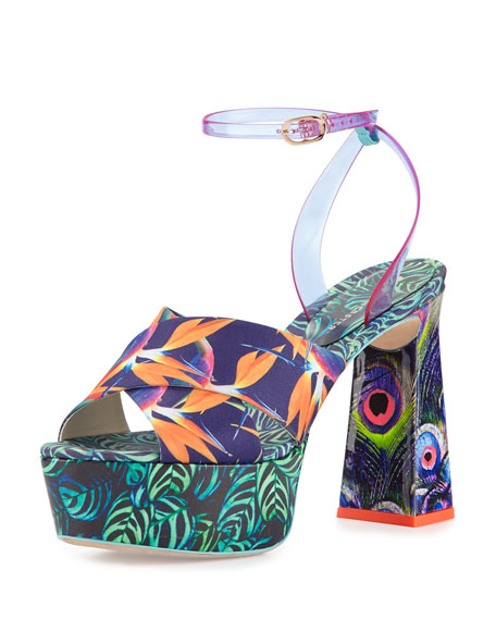 Sophia Webster Effie Tropical-Print Platform Sandal, Navy/Green