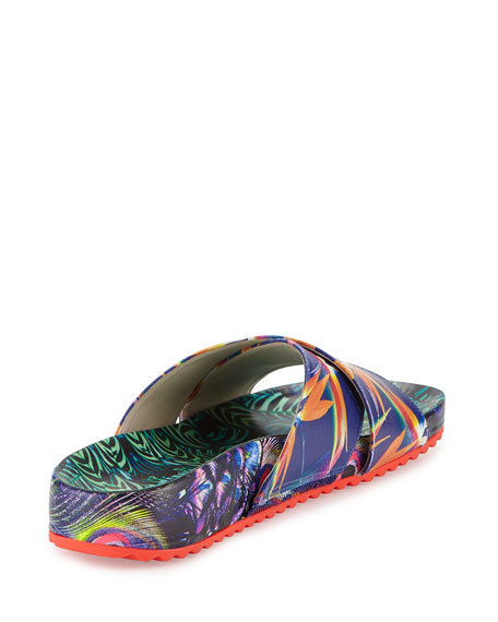 Phoebe Tropical Flat Slide Sandal, Navy/Green