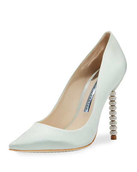 Sophia Webster Coco Satin Crystal-Heel Bridal Pump, Ice