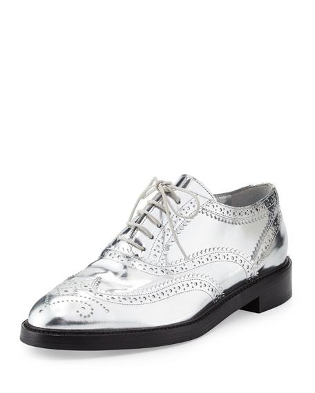 Burberry Gennie Zig Metallic Wing-Tip Oxford, Silver