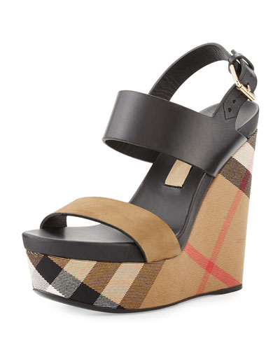47fc462c685ad Burberry Nuneaton Check Wedge Sandal, Dark Heather Melange