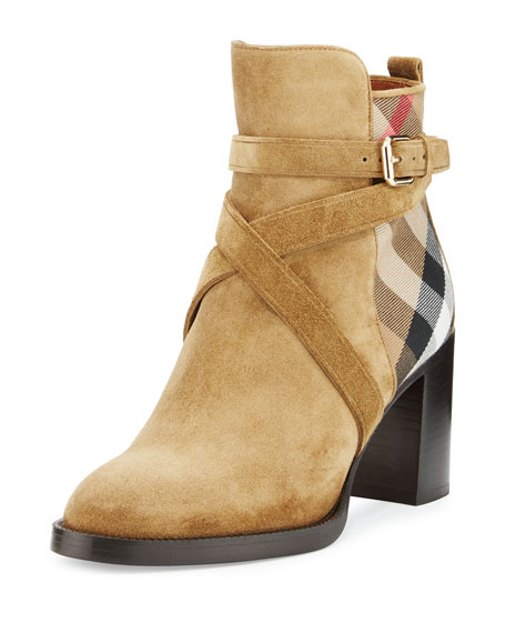 Burberry Vaughan Check & Suede 70mm Bootie, Sandstone