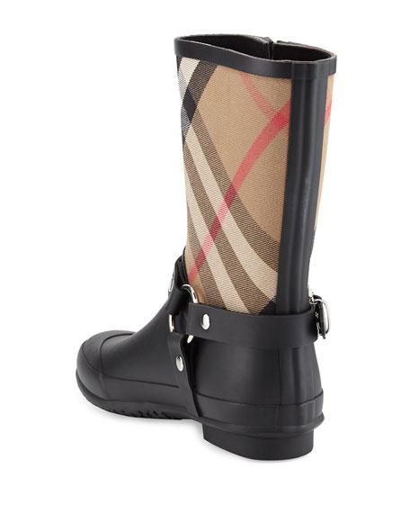 Zane Check Harness Rain Boots, Black