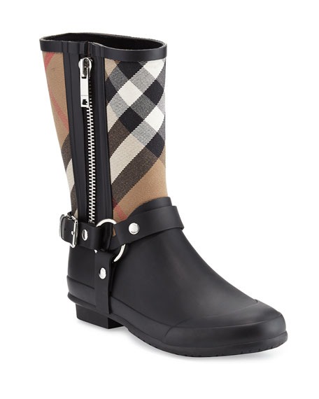 Buckle And Strap Detail Check Rain Boots in Black