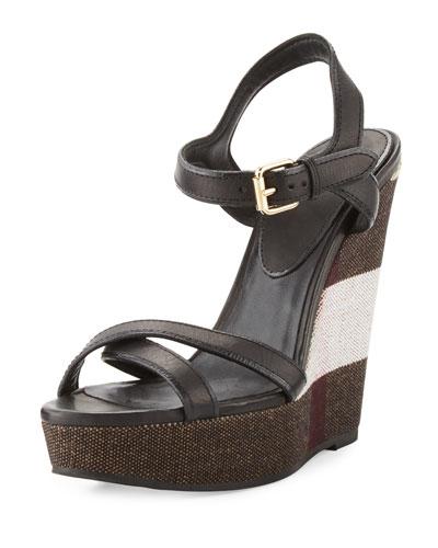 a9d489b5727 Burberry Whelan Crisscross Check Wedge Sandal