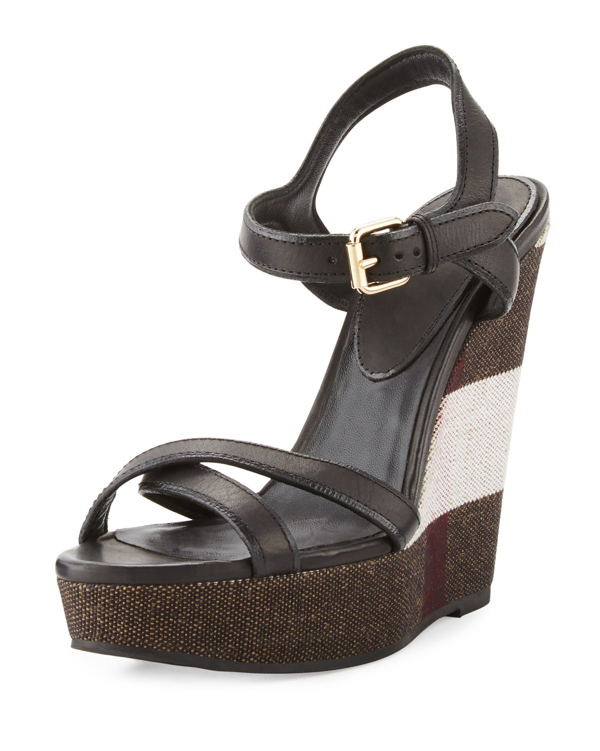 7e08bd75f7f56 Burberry Whelan Crisscross Check Wedge Sandal, Black | Neiman Marcus