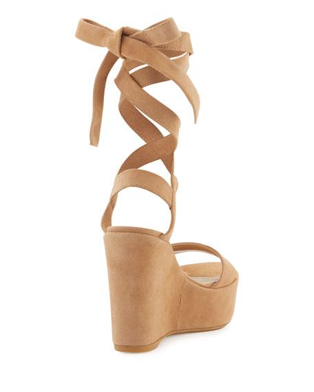 Stuart Weitzman Backtie Suede Ankle-Wrap Wedge Sandal, Cashew