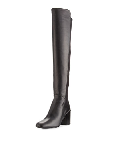 Halftime Leather Over-the-Knee Boot, Black