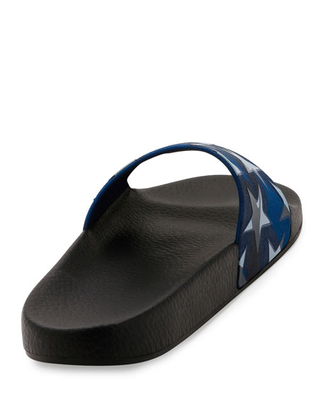 PVC Stars Rubber Slide Sandal, Light Denim