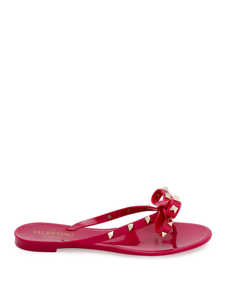 Rockstud PVC Flat Thong Sandals, Deep Cyclamen