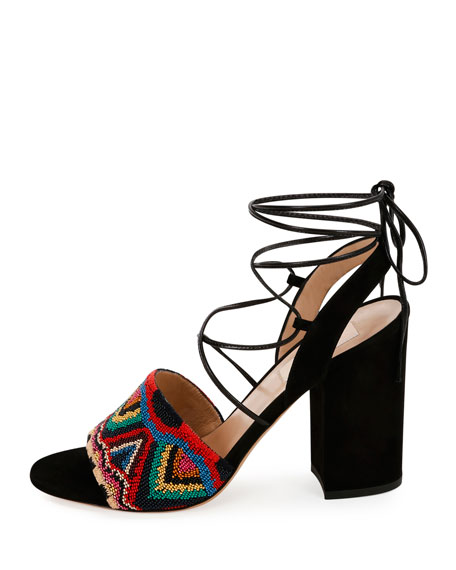 Native Beaded Lace-Up Sandals, Multicolor/Nero