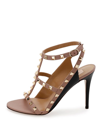 VALENTINO Leathers ROCKSTUD COLORBLOCK CAGED 100MM SANDAL, NERO/POUDRE