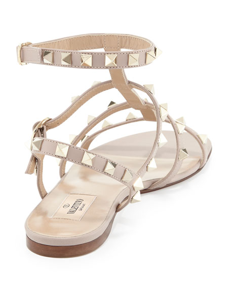 Rockstud Leather Flat Sandal
