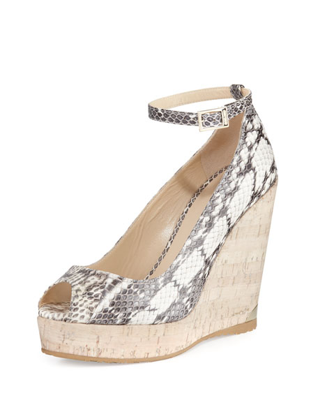 Jimmy Choo Pacific 120mm Peep-Toe Wedge Pump, Rocca