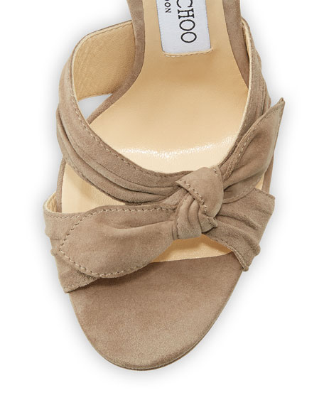 Vixen Suede Ankle-Wrap 130mm Sandal, Light Mocha