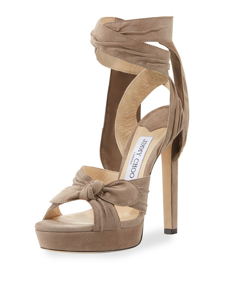 Jimmy Choo Vixen Suede Ankle-Wrap 130mm Sandal, Light