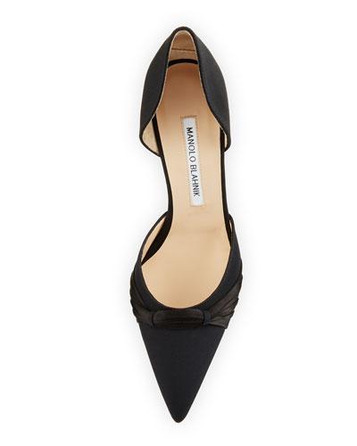 MANOLO BLAHNIK Mid heels LISY CREPE D'ORSAY 70MM PUMP, BLACK