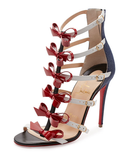 Christian LouboutinGirlystrappi Bow 100mm Red Sole Sandal, Multicolor