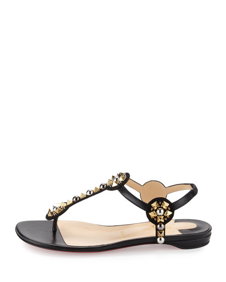 Kaleifra Spike T-Strap Red Sole Flat Sandal, Version Black