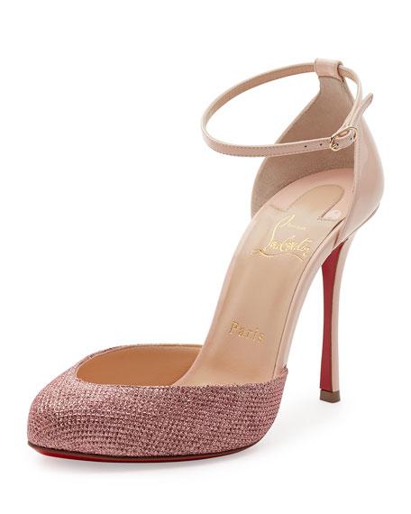Christian Louboutin Dollyla Glitter & Patent 100mm Red