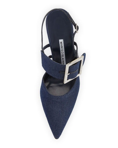 Beladona Denim Buckled Slingback Pump, Denim Blue