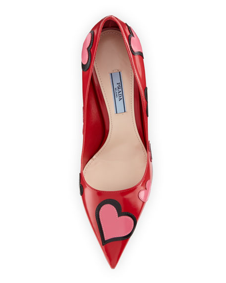 Prada Heart-Appliqué Pointed-Toe 85mm Pump, Scarlet (Scarlatto)