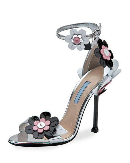 Prada Floral Ankle-Wrap 110mm Sandal, Argento