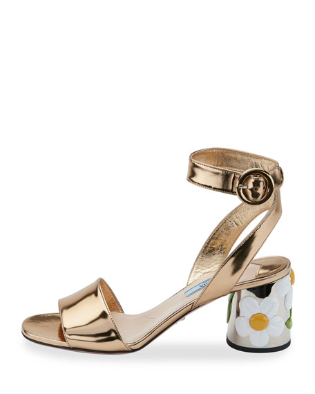Floral-Heel Ankle-Wrap 65mm Sandal, Platino