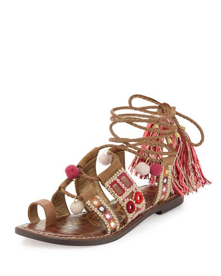 Sam Edelman Gretchen Embroidered Lace-Up Flat Sandal, Camel/Pink