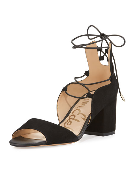 Sam Edelman Serene Suede Lace-Up Sandal, Black