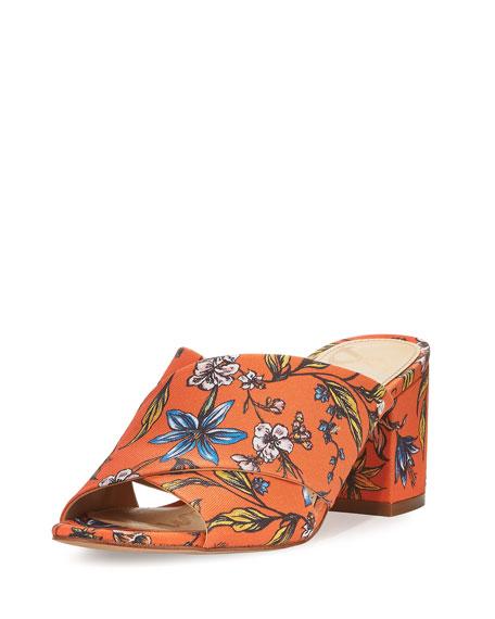 Sam Edelman Stanley Floral Crisscross Sandal, Orange