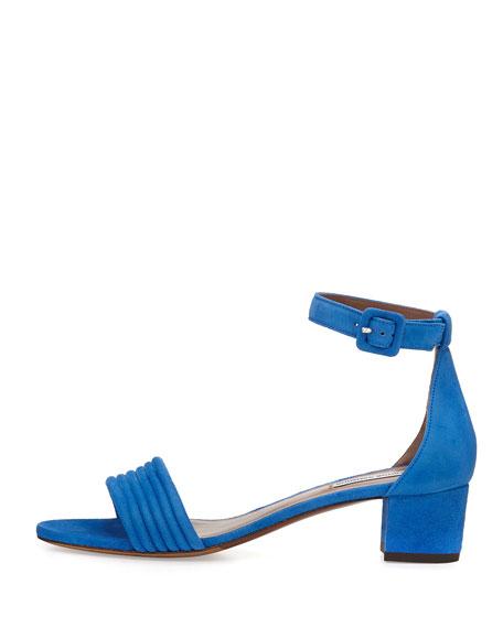 Virginia Suede Ankle-Wrap Sandal, Marine