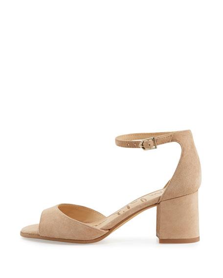Sam Edelman Susie Ankle-Strap Block-Heel Sandal Beige