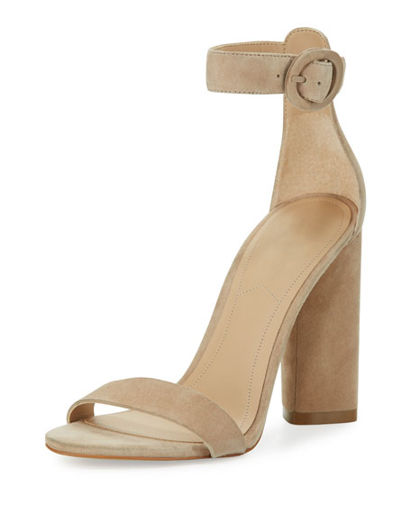 Kendall + Kylie Giselle Suede Chunky-Heel Sandal, Beige