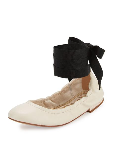 Sam Edelman Fallon Lace-Up Ballerina Flat, Modern Ivory