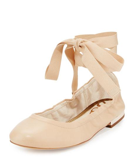 Fallon Lace-Up Ballerina Flat, Beige