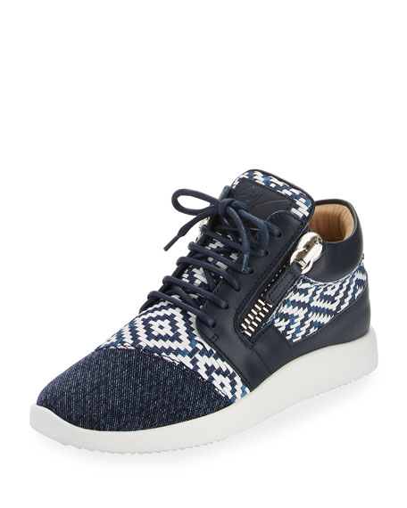 Woven Leather High-Top Sneaker, Navy
