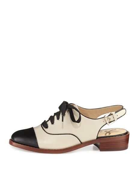 Damian Cap-Toe Slingback Oxford, White