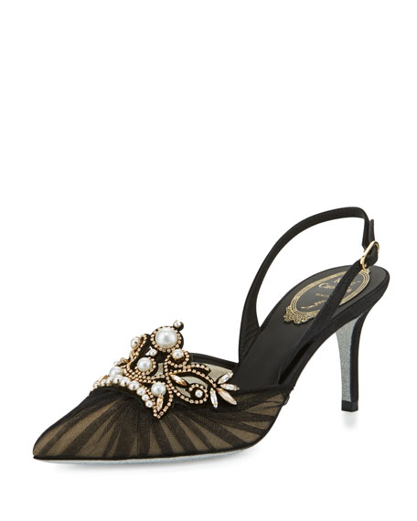 Rene Caovilla Pearly 75mm Slingback Pump, Black