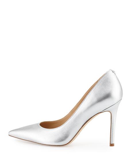 Hazel Pointed-Toe Metallic Pump, Silver
