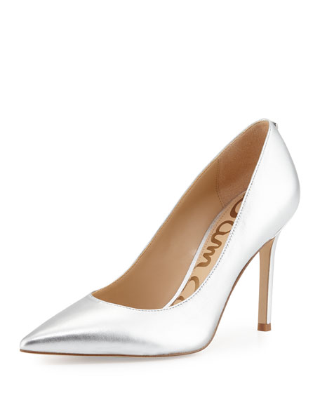 Hazel Pointed-Toe Metallic Pump, Silver