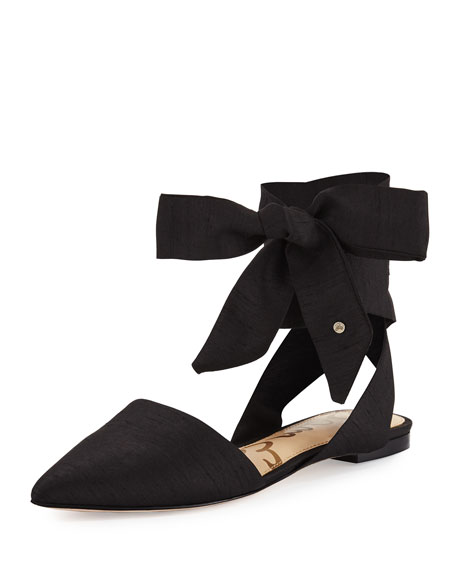Brandie Lace-Up Silk Flat, Black