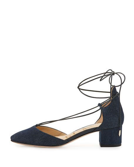 Loretta Denim Lace-Up 45mm Pump, Blue