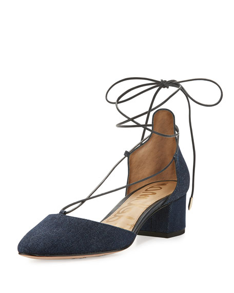 Sam Edelman Loretta Denim Lace-Up 45mm Pump, Blue