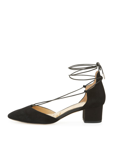 Loretta Suede Lace-Up 45mm Pump, Black