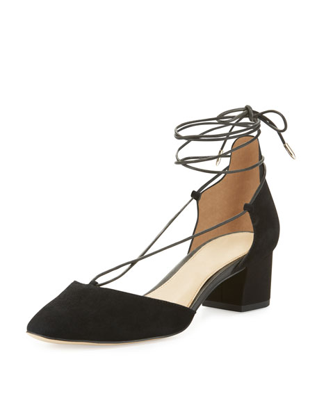 Sam Edelman Loretta Suede Lace-Up 45mm Pump, Black