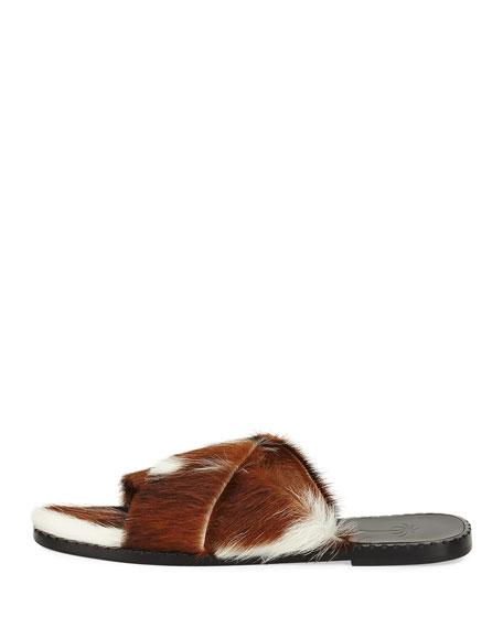 Crisscross Calf Fur Flat Slide Sandal, Beige