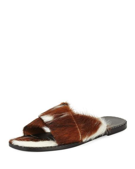 Crisscross Calf Fur Flat Slide Sandals, Beige