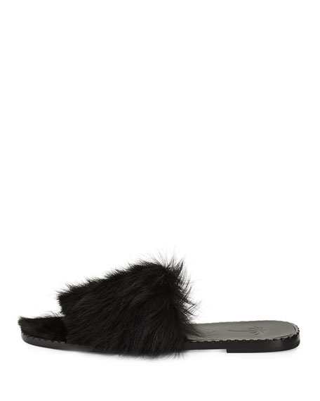 Calf Fur Flat Slide Sandal, Black