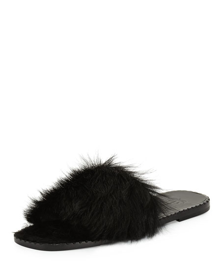 Calf Fur Flat Slide Sandals, Black